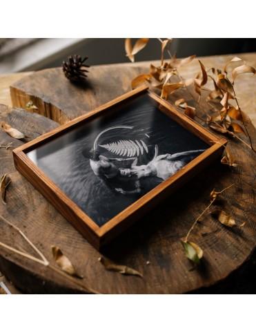 Drewniane pudełko z deklem...